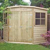 7ft x 7ft Shire Premium Pressure Treated Wooden Corner Garden Shed (2.07m x 2.16m)