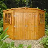 7ft5 x 7ft5 Shire Shiplap Wooden Corner Garden Shed (2.33m x 2.33m)