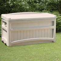 3ft10 x 2ft (1.17x0.58m) Suncast Resin Wheeled Seat Deck Box - Plastic Garden Storage