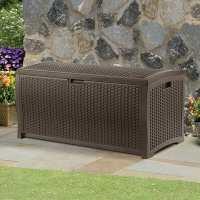 4ft x 2ft (1.27 x 0.65m) Suncast Resin Wicker Deck Box - Plastic Garden Storage