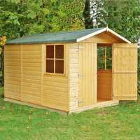10ft x 7ft Shire Guernsey Double Door Wooden Garden Shed (3.35m x 2.2m)