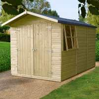 10ft x 7ft Shire Guernsey Premium Pressure Treated Double Door Garden Shed (3.35m x 2.2m)