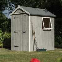 6ft x 4ft Rowlinson Heritage Wooden Grey Storage Shed (1.89m x 1.4m)