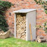 3ftx2ft (0.9x0.6m) Rowlinson Heritage Wooden Grey Garden Log Store