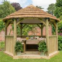 12ftx10ft (3.6x3.1m) Luxury Wooden Furnished Garden Gazebo with Country Thatch Roof - Seats up to 10 people