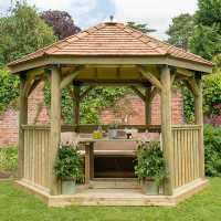 12ftx10ft (3.6x3.1m) Luxury Wooden Furnished Garden Gazebo with New England Cedar Roof - Seats up to 10 people