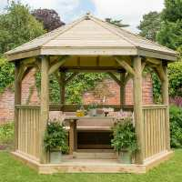 12ftx10ft (3.6x3.1m) Luxury Wooden Furnished Garden Gazebo with Traditional Timber Roof - Seats up to 10 people