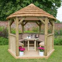 10ftx9ft (3x2.7m) Luxury Wooden Furnished Garden Gazebo with Thatched Roof - Seats up to 10 people