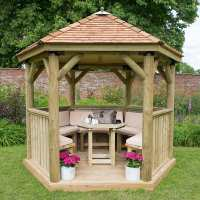 10ftx9ft (3x2.7m) Luxury Wooden Furnished Garden Gazebo with New England Cedar Roof - Seats up to 10 people