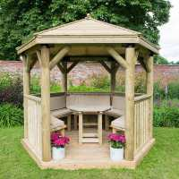 10ftx9ft (3x2.7m) Luxury Wooden Furnished Garden Gazebo with Traditional Timber Roof - Seats up to 10 people