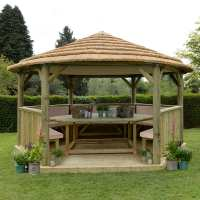 15ftx13ft (4.7x4m) Luxury Wooden Furnished Garden Gazebo with Thatched Roof - Seats up to 19 people