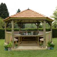 15ftx13ft (4.7x4m) Luxury Wooden Furnished Garden Gazebo with New England Cedar Roof - Seats up to 19 people