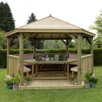 15ftx13ft (4.7x4m) Luxury Wooden Furnished Garden Gazebo with Timber Roof - Seats up to 19 people