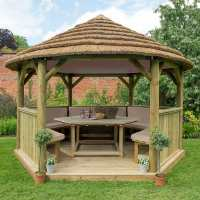 13ftx12ft (4x3.5m) Luxury Wooden Furnished Garden Gazebo with Country Thatch Roof - Seats up to 15 people