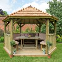 13ftx12ft (4x3.5m) Luxury Wooden Furnished Garden Gazebo with New England Cedar Roof - Seats up to 15 people