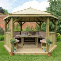 13ftx12ft (4x3.5m) Luxury Wooden Furnished Garden Gazebo with Traditional Timber Roof - Seats up to 15 people