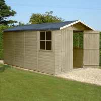 13ft x 7ft Shire Jersey Premium Pressure Treated Double Door Wooden Garden Shed (4.34m x 2.2m)