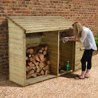 6ft x 2ft Forest Large Log Store Tool Shed (1.76x0.69m)
