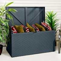 4ft x 2ft Rowlinson Metal Rattan Effect Garden Storage Box - Anthracite (1.3m x 0.69m)