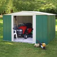 10ft x 8ft Rowlinson Greenvale Metal Apex Shed - Includes Floor & Installation (3.13m x 2.42m)