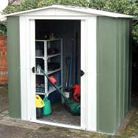 8ft x 6ft Rowlinson Greenvale Metal Apex Shed (2.5m x 1.81m)