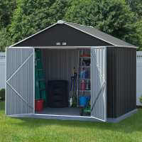 10ft x 8ft Rowlinson Ezee Grey Metal Apex Shed (2.99m x 2.18m)