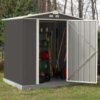 6ft x 5ft Rowlinson Ezee Grey Metal Apex Shed (1.77m x 1.57m)