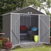 8ft x 7ft Rowlinson Ezee Grey Metal Apex Shed (2.38m x 2.18m)