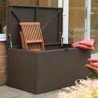 4ft x 2ft Rowlinson Metal Rattan Effect Garden Storage Box - Brown (1.3m x 0.69m)