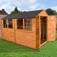 10ft x 6ft Forest Overlap Dip Treated Wooden Double Door Shed (3.08m x 1.91m)