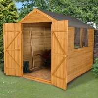 8ft x 6ft Forest Overlap Apex Dip Treated Wooden Double Door Shed (2.36m x 1.91m)