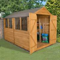 10ft x 8ft Forest Overlap Apex Dip Treated Wooden Double Door Shed (3.10m x 2.59m)