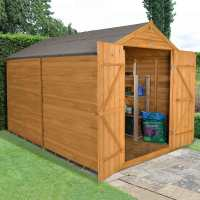 10ft x 8ft Forest Overlap Apex Dip Treated Wooden Windowless Double Door Shed (3.13m x 2.59m)