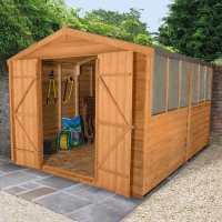 12ft x 8ft Forest Overlap Apex Dip Treated Wooden Double Door Shed (2.46m x 3.72m)