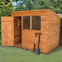 6ft x 8ft Forest Overlap Pent Dip Treated Wooden Shed (1.88m x 2.39m)