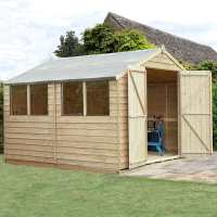 10ft x 10ft Forest Overlap Apex Pressure Treated Wooden Double Door Shed (3.01 x 3.01m)