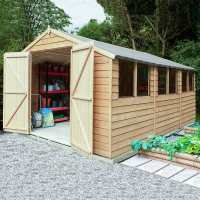 10ft x 15ft Forest Overlap Apex Pressure Treated Wooden Double Door Shed (3.01 x 4.5m)