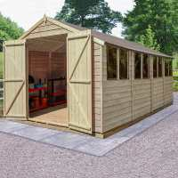 10ft x 20ft Forest Overlap Apex Pressure Treated Wooden Double Door Shed (3.01 x 5.98m)