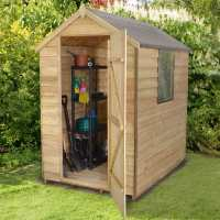 6ft x 4ft Forest Overlap Apex Wooden Shed Pressure Treated (1.82m x 1.32m)