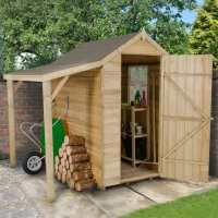 6ft x 4ft Forest Overlap Apex Wooden Shed Pressure Treated with Lean-To (1.82m x 1.32m)