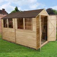 10ft x 6ft Forest Overlap Apex Pressure Treated Wooden Double Door Shed (3.12m x 1.91m)