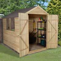 8ft x 6ft Forest Overlap Apex Pressure Treated Wooden Double Door Shed (2.4m x 1.91m)