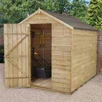 8ft x 6ft Forest Overlap Apex Pressure Treated Wooden Windowless Shed (2.4m x 1.91m)