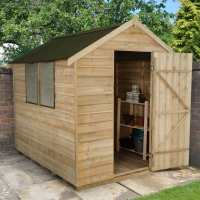 8ft x 6ft Forest Overlap Apex Pressure Treated Wooden Shed - with Onduline Roof (2.4m x 1.91m)