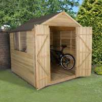 7ft x 7ft Forest Overlap Apex Pressure Treated Wooden Double Door Shed (2.2m x 2.1m)