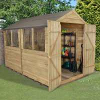 10ft x 8ft Forest Overlap Apex Pressure Treated Wooden Double Door Shed (3.10m x 2.46m)