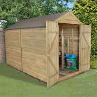 10ft x 8ft Forest Overlap Apex Pressure Treated Wooden Windowless Double Door Shed (3.10m x 2.46m)