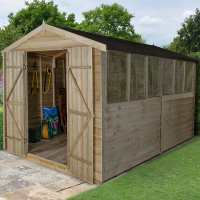 12ft x 8ft Forest Overlap Apex Pressure Treated Wooden Double Door Shed (3.69m x 2.46m)