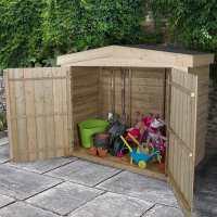 6ft5 x 3ft Forest Large Double Door Apex Wooden Garden Storage  - Bike / Mower Outdoor Store (1.9m x 0.8m)