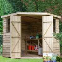 7ft x 7ft Forest Overlap Pressure Treated Wooden Corner Shed (2.9 x 2.3m)